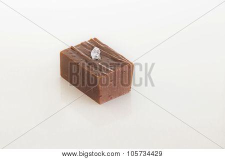 Chocolate fudge with salt crystals