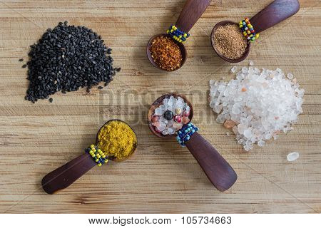 Various spices, arranged