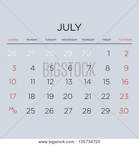 Calendar Vector Template 2016. July.