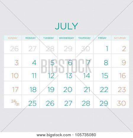 Calendar Vector Template 2016. July