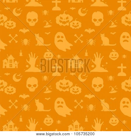 Halloween vector background seamless pattern. Bat, skull, pumpkin, devil, ghost. Halloween symbols. Halloween silhouette. Halloween texture pattern design. Halloween seamless background, halloween