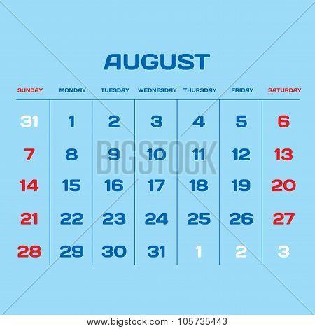 Calendar Vector Template 2016. August.