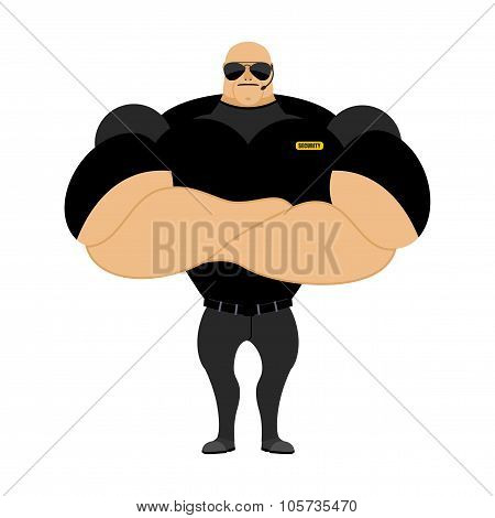 Big And Strong Security Guard. Man With Big Muscles. Security Guard Nightclub. Athlete With Big Musc
