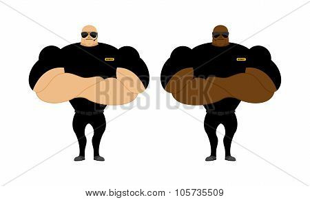 Security Guards Nightclub. Two Bodybuilder Guarding Entrance. Powerful People With Big Biceps.