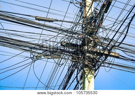 Messy Electrical Cables In Thailand - Uncovered Optical Fiber Technology Open Air Outdoors
