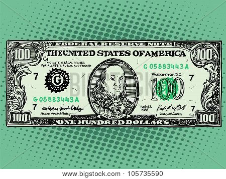 Banknote hundred dollars Benjamin Franklin