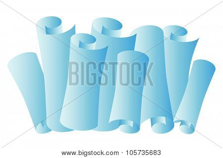 Paper scroll, paper roll vector illustration. Paper roll silhouette, school paper roll, paper clean isolated vector. Paper rolls icons on white background. School, university.