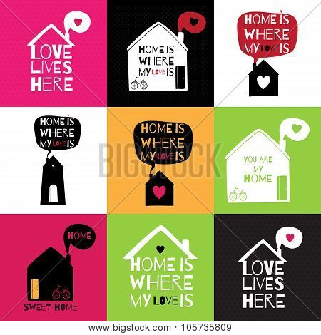 Romantic Greeting Card With Quote About Home And Love.