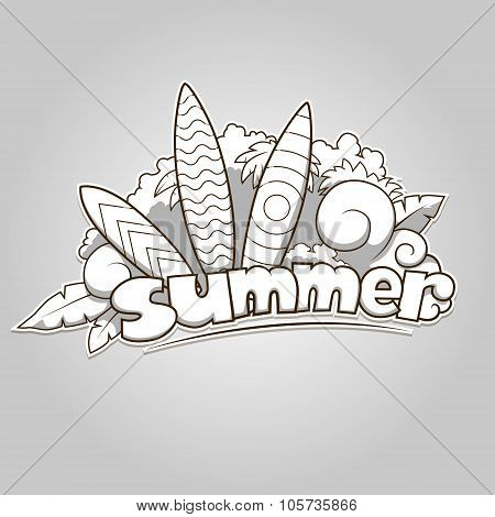 Summer surfing colorless vector illustration