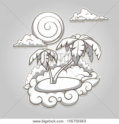 Palms tropical colorless vector illustration