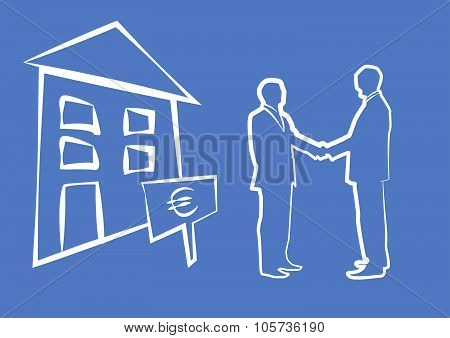 Silhouette Of Two Businessmen Shaking Hands In Front Of House For Sale