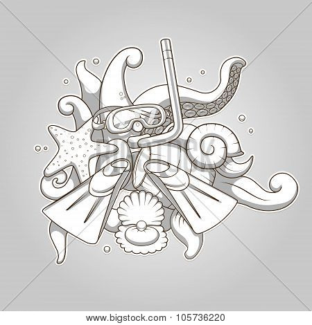 Diving abstraction colorless vector illustration