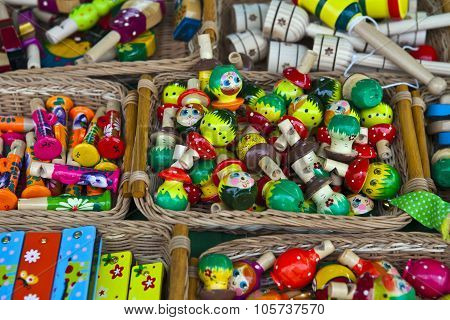 Colored Wooden Whistles