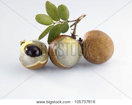 Longan, Dimocarpus longan,on the white background