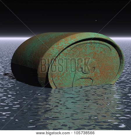 Rusty Barrel On The Surface Of The Water