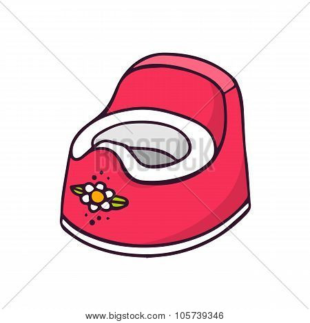 Baby Potty, Bright Vector Children Illustration Isolated On White