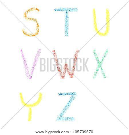 Font pencil crayon. ABC chalk letters. Handwritten vector illustration.