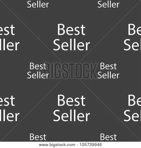 Best Seller Sign Icon. Best-seller Award Symbol. Seamless Pattern On A Gray Background. Vector