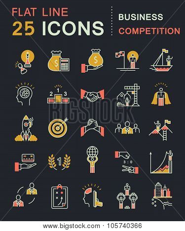 Set Vector Flat Line Business Icons