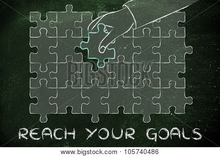 Hand Completing A Puzzle With The Missing Piece, Metaphor Of Reaching Your Goals