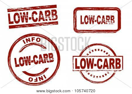 Set of stylized red stamps showing the term low-carb. All on white background.