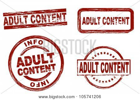 Set of stylized red stamps showing the term adult content. All on white background.