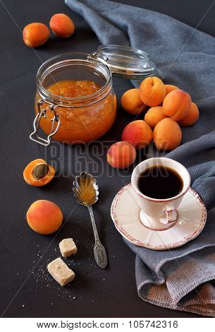 Apricots, Apricot Jam And Cup Of Coffee