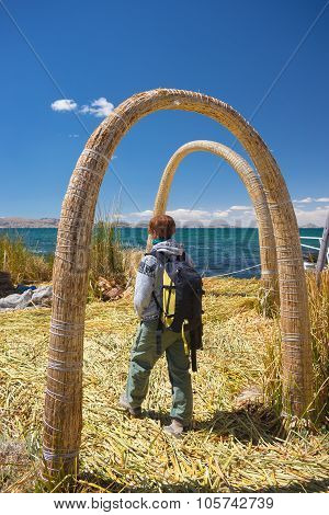 Tourist On Uros Island, Titicaca Lake, Peru