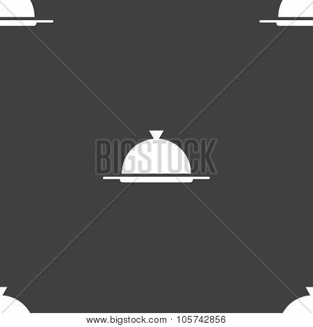 Food Platter Serving Sign Icon. Table Setting In Restaurant Symbol. Seamless Pattern On A Gray Backg