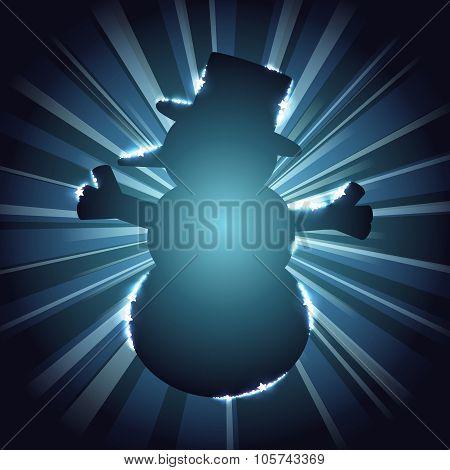 Snowman silhouette against a starburst