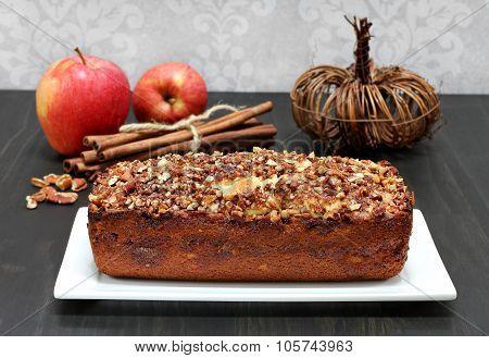 Pecan, Apple And Cinnamon Loaf Cake.