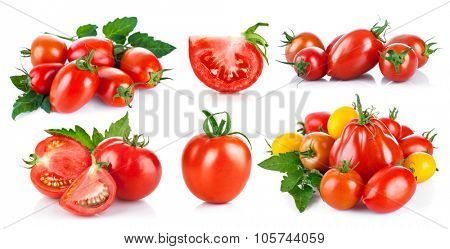 Set fresh tomatoes with green leaf. Isolated on white background. Illustration