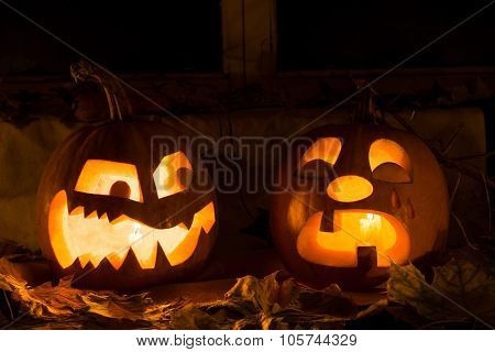 Photo Composition From Two Pumpkins On Halloween