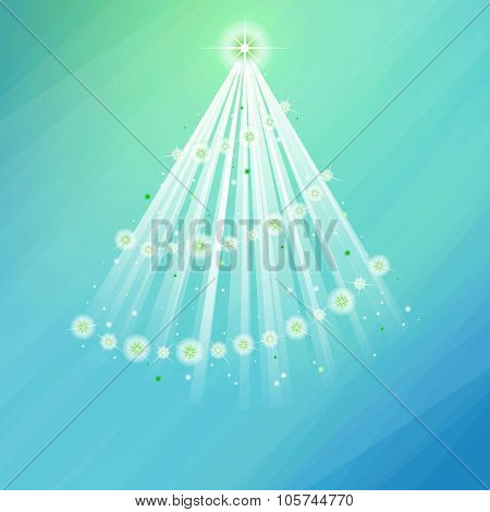 Glowing decorated tree on pale blue-green