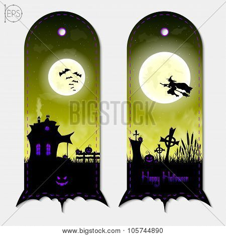 Halloween creepy yellow fantasy vertical banners labels set. Vector illustration.