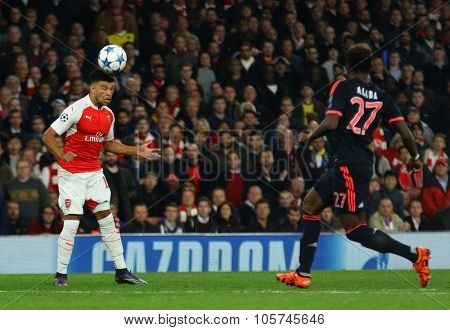 LONDON, ENGLAND - OCTOBER 20 2015: The UEFA Champions League match between Arsenal and Bayern Munich at The Emirates Stadium on October 20, 2015 in London, United Kingdom.