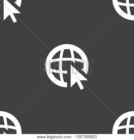 Internet Sign Icon. World Wide Web Symbol. Cursor Pointer. Seamless Pattern On A Gray Background. Ve