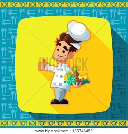 Set Of Icons On A Theme Kitchen. Funny Cooks In Style Flat.