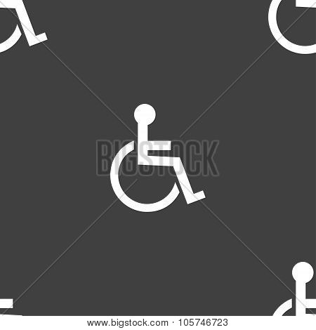 Disabled Sign Icon. Human On Wheelchair Symbol. Handicapped Invalid Sign. Seamless Pattern On A Gray