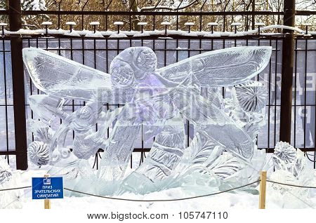 Ice Sculpture - Dragonfly And Ant