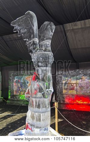 Figure Of Greek Goddess Nike In The Exhibition Of Ice Sculptures.
