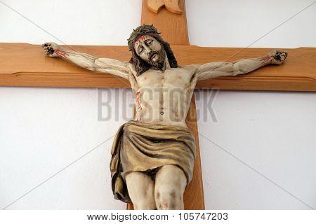 LIPIK, CROATIA - MAY 07: Crucifixion, Jesus died on the cross Church of Saint Francis of Assisi in Lipik, Croatia on May 07, 2015
