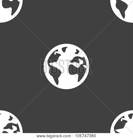 Globe Sign Icon. World Map Geography Symbol. Globes On Stand For Studying. Seamless Pattern On A Gra