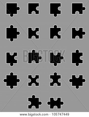 Diverse Set Of Black Silhouette Puzzles
