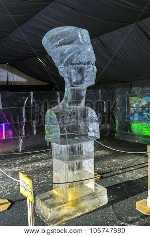 Bust Of Queen Nefertiti In The Exhibition Of Ice Sculptures.
