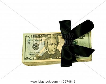 Money Bundle In A Black Ribbon $20 Bills