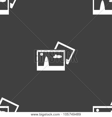 Copy File Jpg Sign Icon. Download Image File Symbol. Seamless Pattern On A Gray Background. Vector