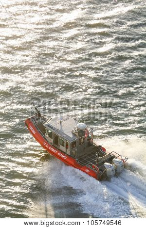 Us Coast Guard Powerboat In East River