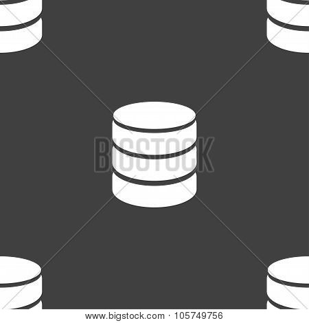 Hard Disk And Database Sign Icon. Flash Drive Stick Symbol. Seamless Pattern On A Gray Background. V