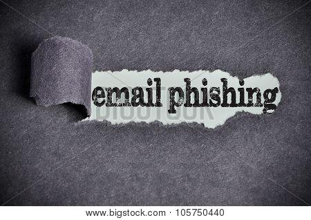 Email Phishing Word Under Torn Black Sugar Paper